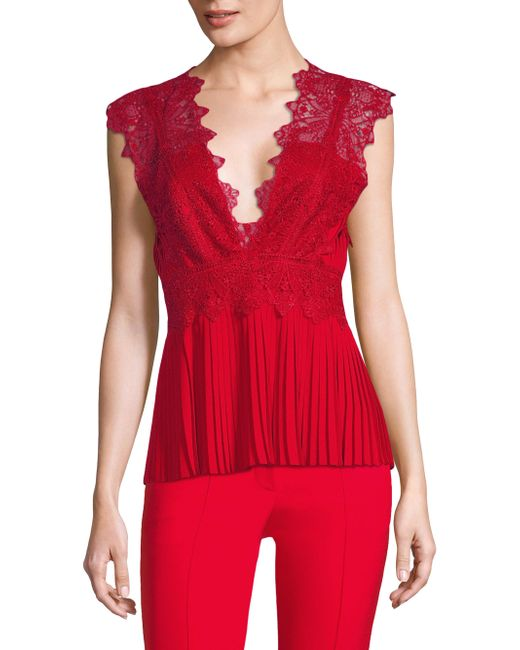 Yigal Azrouël | Embroidered Lace Pleated Top | Lyst