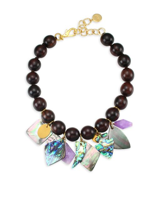 Nest - Multicolor Mother Of Pearl Wood Bead Charm Necklace - Lyst
