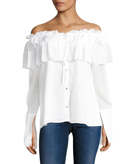 Opening Ceremony | White Crinkle Silk Chiffon Ruffled Off-the-shoulder Blouse | Lyst