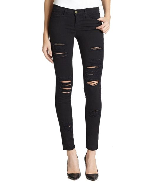 FRAME - Black Le Color Distressed Skinny Jeans - Lyst