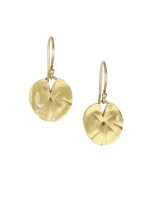 Annette Ferdinandsen - Metallic Diamond & 14k Yellow Gold Lily Pad Earrings - Lyst