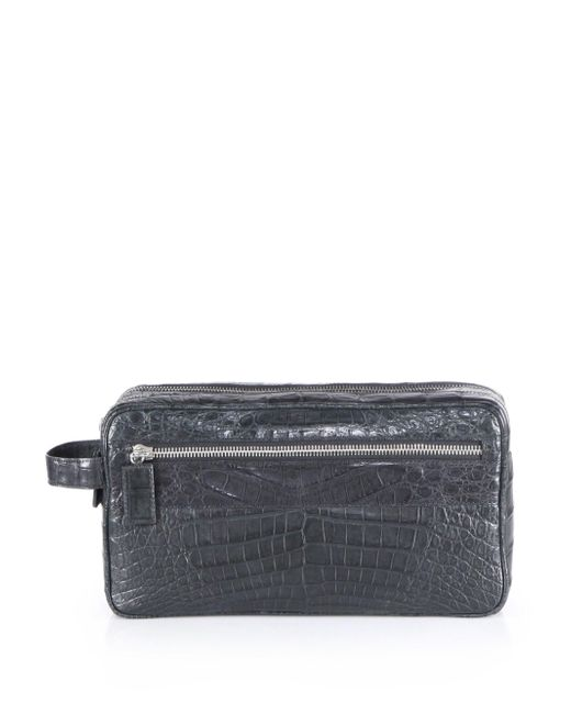 Santiago Gonzalez | Gray Crocodile Toiletry Case for Men | Lyst