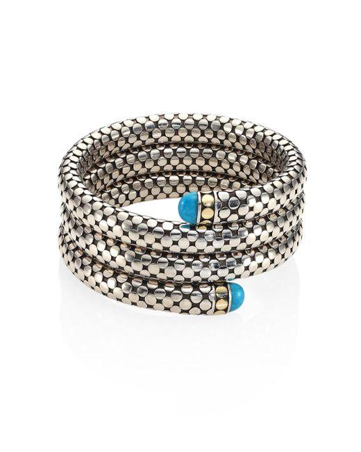 John Hardy - Metallic Dot Turquoise, 18k Yellow Gold & Sterling Silver Triple Coil Bracelet - Lyst