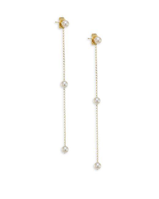 Mizuki | Multicolor 3mm White Pearl Chain Drop Earrings | Lyst