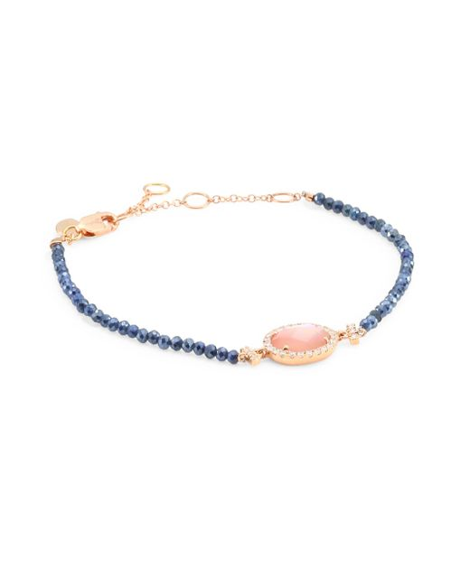 Meira T - Diamond, Rose Quartz, Mother Of Pearl Doublet, Blue Silverite & 14k Rose Gold Bracelet - Lyst