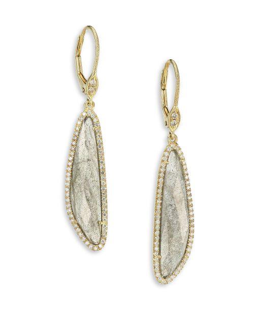 Meira T | Metallic Diamond, Labradorite & 14k Yellow Gold Drop Earrings | Lyst