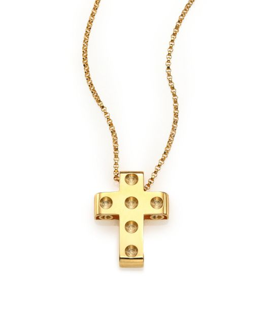 Roberto Coin | Metallic Pois Moi 18k Yellow Gold Cross Pendant Necklace | Lyst