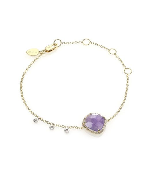 Meira T | Metallic Tanzanite, Mother-of-pearl, Diamond & 14k Yellow Gold Doublet Bracelet | Lyst
