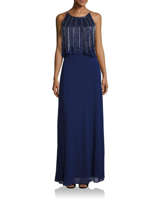 Aidan Mattox | Blue Two-tiered Embellished Popover Bridesmaid Gown | Lyst