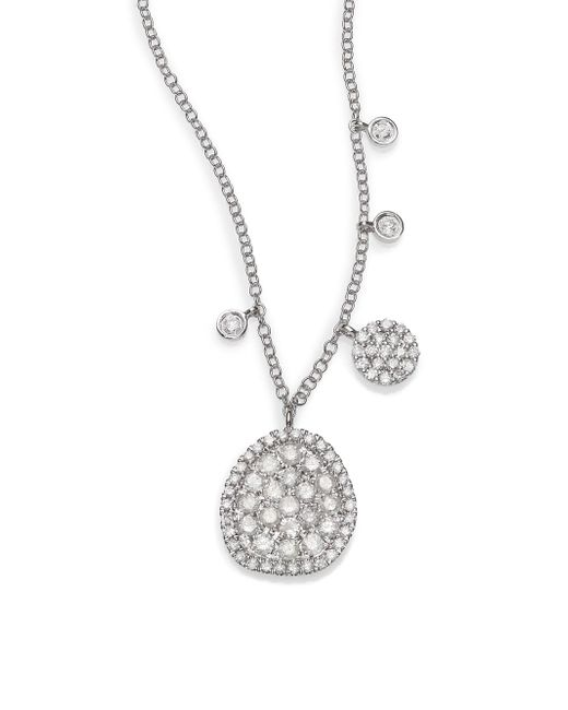Meira T - Diamond & 14k White Gold Ice Disc Necklace - Lyst