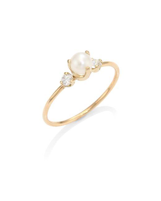Zoe Chicco   Metallic Diamond & 4mm White Pearl Ring   Lyst