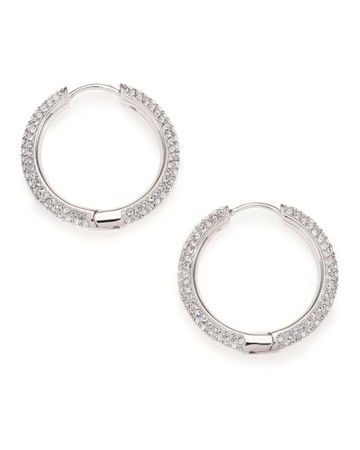 Adriana Orsini | Metallic Pave Crystal Hoop Earrings/0.9 | Lyst