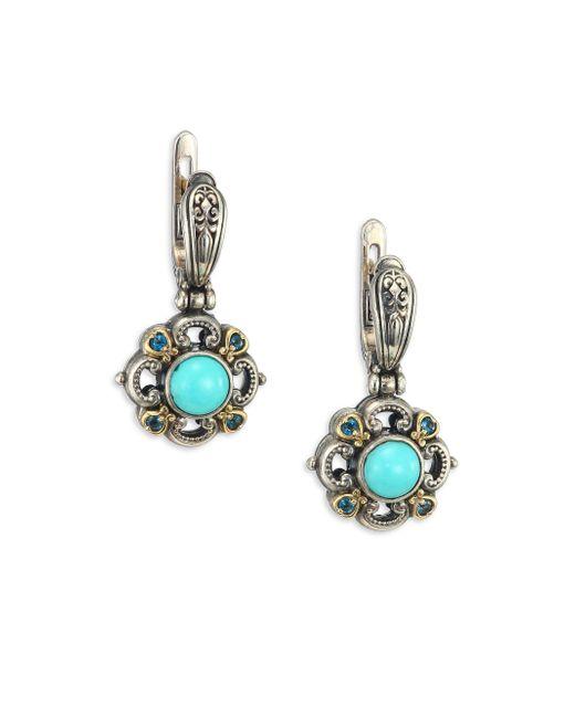 Konstantino | Metallic Hermione Turquoise, London Blue Topaz, 18k Yellow Gold & Sterling Silver Small Drop Earrings | Lyst