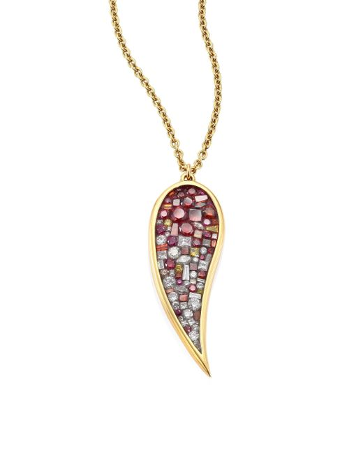 Plevé | Raspdia Diamond & 18k Yellow Gold Pendant Necklace | Lyst