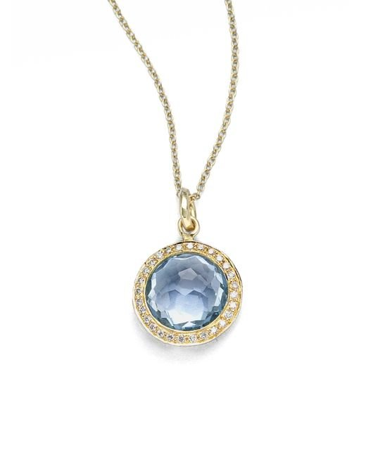 Ippolita - Metallic Lollipop Blue Topaz, Diamond & 18k Yellow Gold Mini Pendant Necklace - Lyst