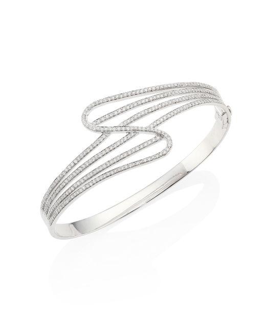 Hueb - Metallic Wave Diamond & 18k White Gold Bangle Bracelet - Lyst
