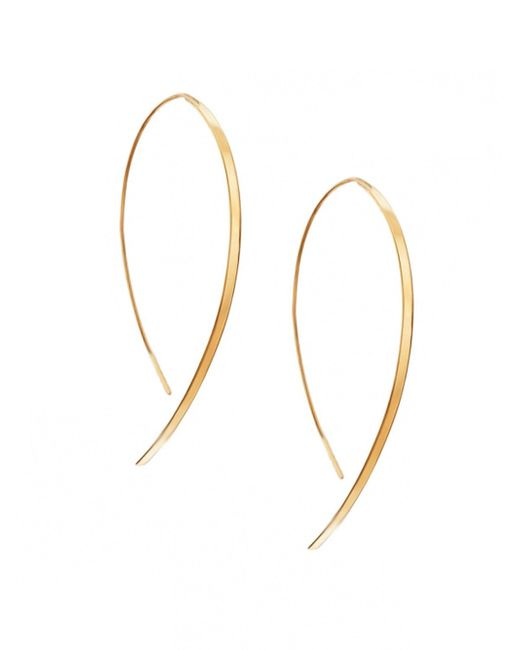 Lana Jewelry - Metallic Hooked On Hoop Small 14k Yellow Gold Flat Hook Earrings - Lyst
