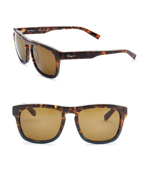Ferragamo - Multicolor Havana 55mm Wayfarer Sunglasses - Lyst