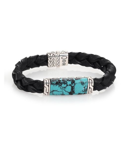 John Hardy | Black Batu Classic Chain Turquoise, Sterling Silver & Leather Bracelet | Lyst