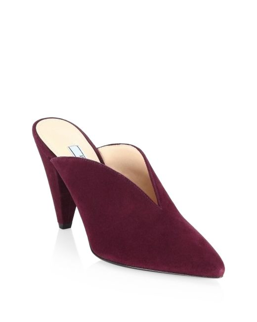 Prada - Purple V Suede Mules - Lyst