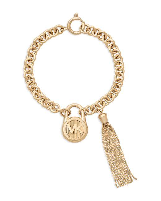 Michael Kors - Metallic Gold-tone Stainless Steel Padlock Charm & Chain Tassel Bracelet - Lyst