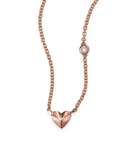 Sydney Evan | Pink Diamond & 14k Rose Gold Mini Heart Charm Necklace | Lyst