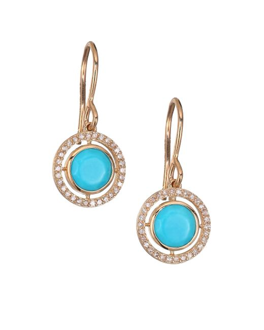 Astley Clarke - Blue Biography Celestial Turquoise, Diamond & 14k Yellow Golddrop Earrings - Lyst