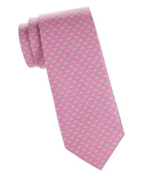 Ferragamo Pink Chained Gancini Silk Tie for men