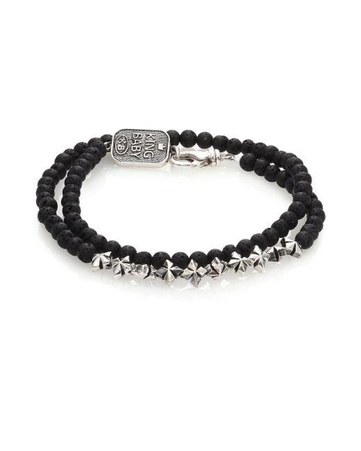 King Baby Studio - Black Double-wrap Lava Rock Bracelet - Lyst