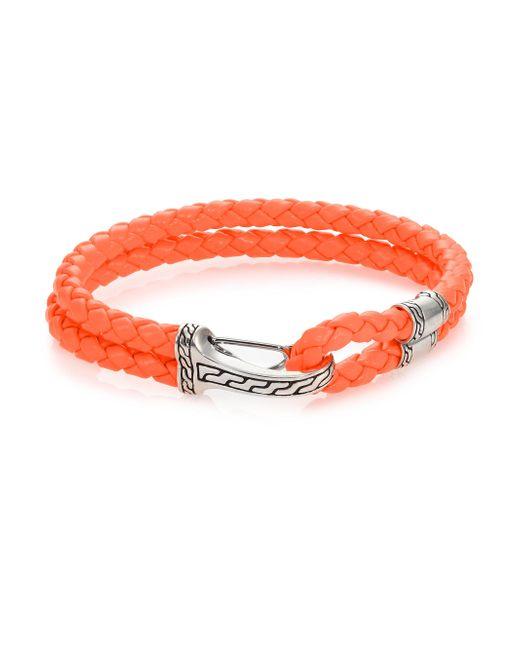 John Hardy - Orange Classic Chain Silver Hook Station Leather Bracelet for Men - Lyst