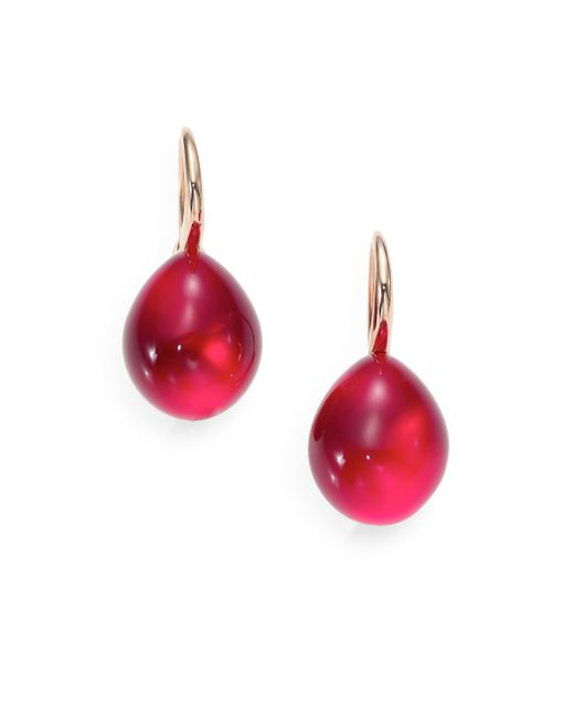 Pomellato - Red Rouge Passion Burma Cabochon Drop Earrings - Lyst