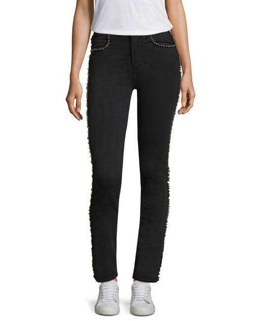 PAIGE - Black Hoxton Silver Pearl-trim Jeans - Lyst