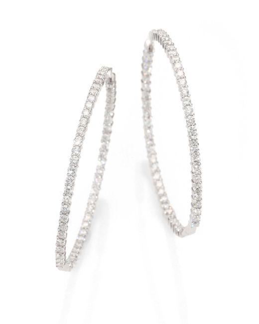 Roberto Coin   Metallic Diamond & 18k White Gold Inside-outside Hoop Earrings/2.5   Lyst