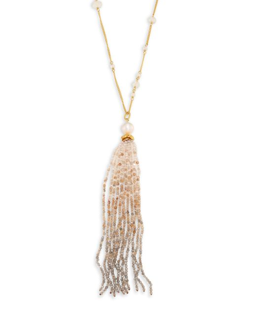 Chan Luu - Multicolor 9-10mm White Pearl & Golden Mix Fringe Pendant Necklace - Lyst