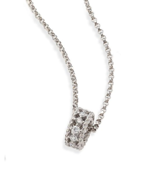 Roberto Coin | Metallic Symphony Braided Diamond & 18k White Gold Pendant Necklace | Lyst