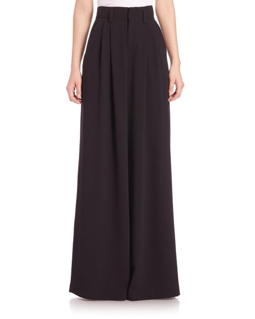 Alice + Olivia - Black Straight Wide-leg Trousers - Lyst