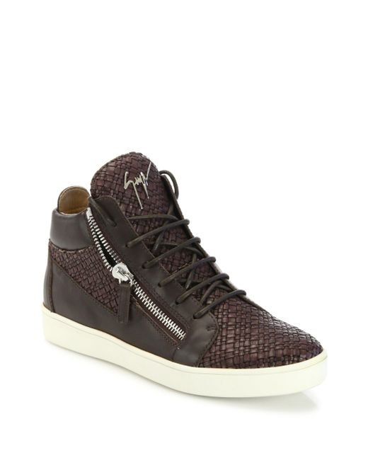 Giuseppe Zanotti | Brown Woven Leather Mid-top Sneakers for Men | Lyst