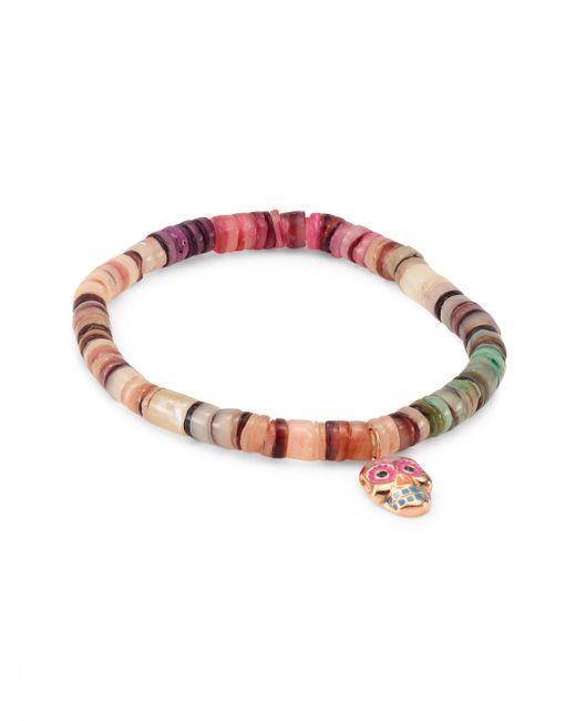 Sydney Evan - Multicolor Small Sugar Skull Emerald & Rainbow Heishi Beaded Bracelet - Lyst