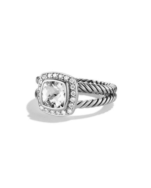 David Yurman - White Petite Albion Ring With Diamonds - Lyst