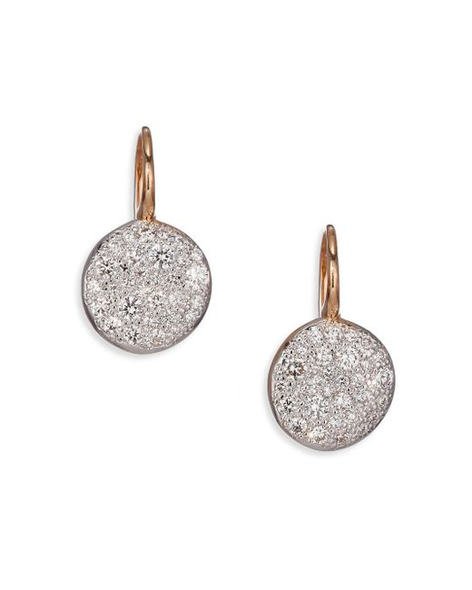 Pomellato - Pink Sabbia Diamond & 18k Rose Gold Drop Earrings - Lyst
