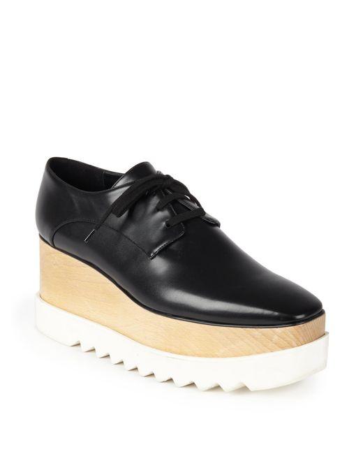 Stella McCartney - Black Faux Leather Platform Oxfords - Lyst