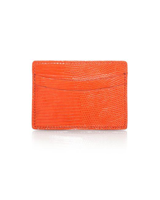 Saks Fifth Avenue | Orange Lizard Card Case for Men | Lyst