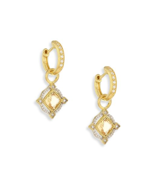 Jude Frances | Metallic Lisse Diamond, Champagne Citrine & 18k Yellow Gold Halo Earring Charms | Lyst