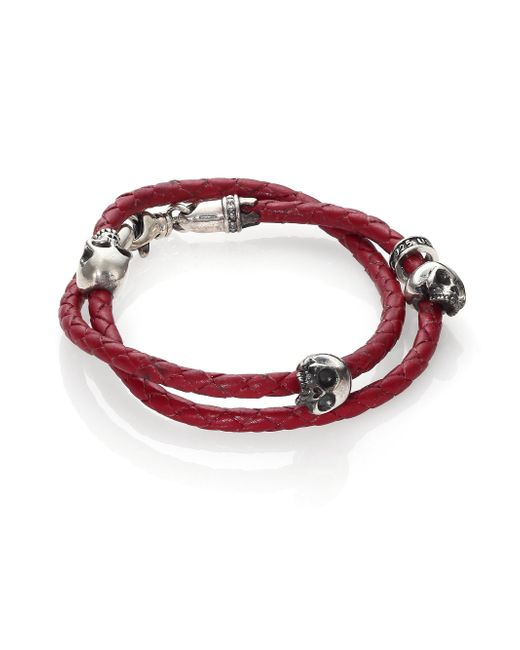 King Baby Studio - Red Thin-braided Double Wrap Leather Bracelet - Lyst