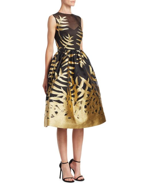 Oscar de la Renta - Metallic Leaf Dress - Lyst