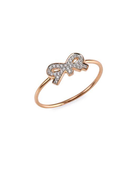 Ginette NY - Metallic Tiny Diamond Bow Ring - Lyst