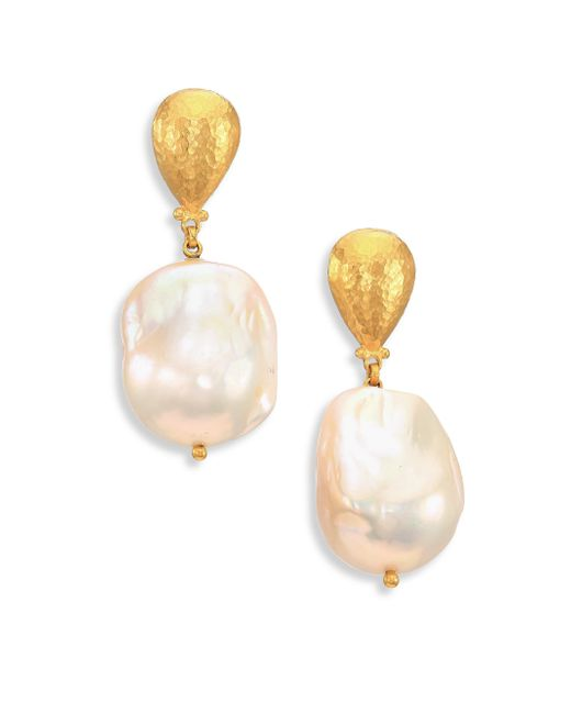 Gurhan | Metallic Spell 18mm White Baroque Pearl & 24k Yellow Gold Drop Earrings | Lyst