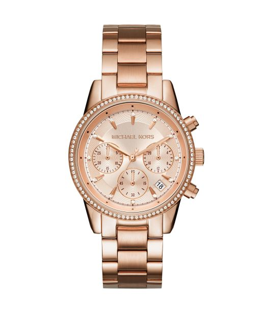 Michael Kors - Metallic Ritz Studded Rose Goldtone Stainless Steel Chronograph Bracelet Watch - Lyst