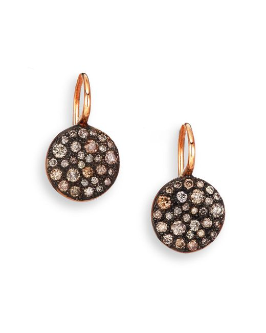 Pomellato - Pink Sabbia Brown Diamond & 18k Rose Gold Drop Earrings - Lyst