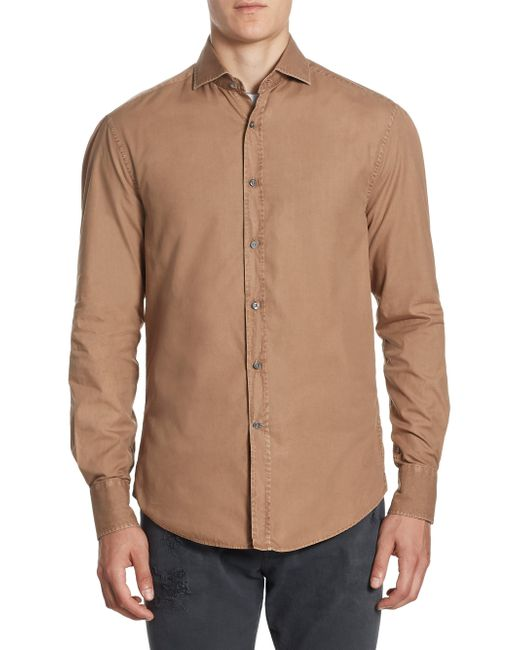 Brunello Cucinelli | Brown Long Sleeves Cotton Button-down Shirt for Men | Lyst